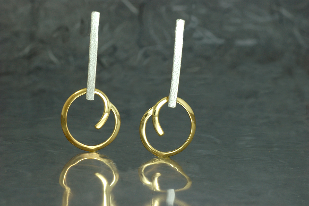 OH LALA - Earrings ref.M with B2 system stud hook and gold plated