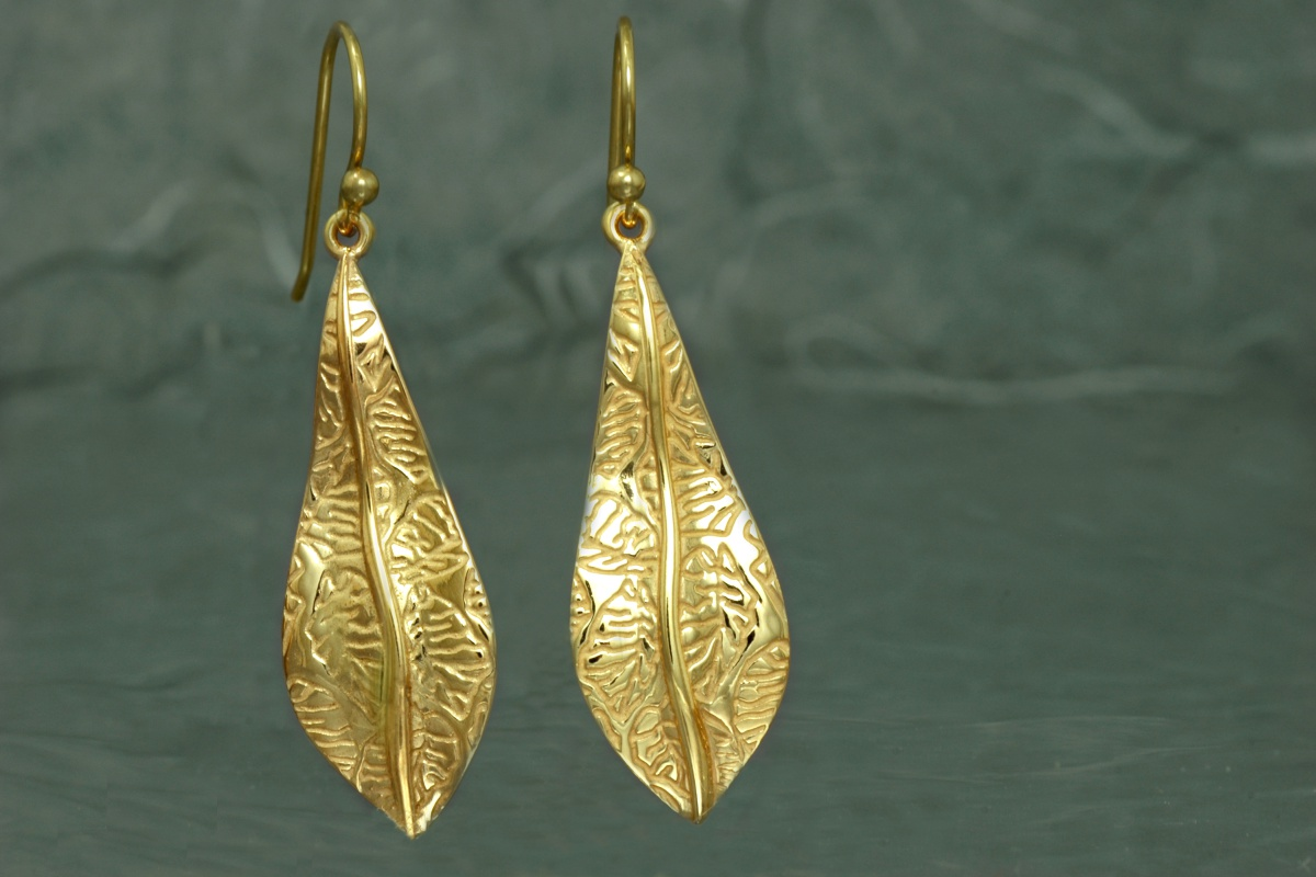NATURA - Dangle earrings ref.SG, gold plated