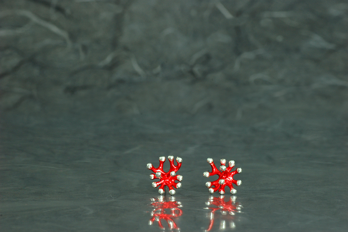 ANEMONA - Stud earrings, ref.P, with galvanized finish