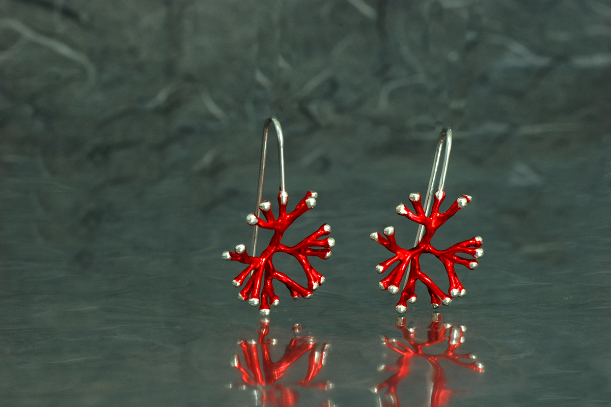 ANEMONA - Fixed hook earrings, ref. SSG, with galvanized finish