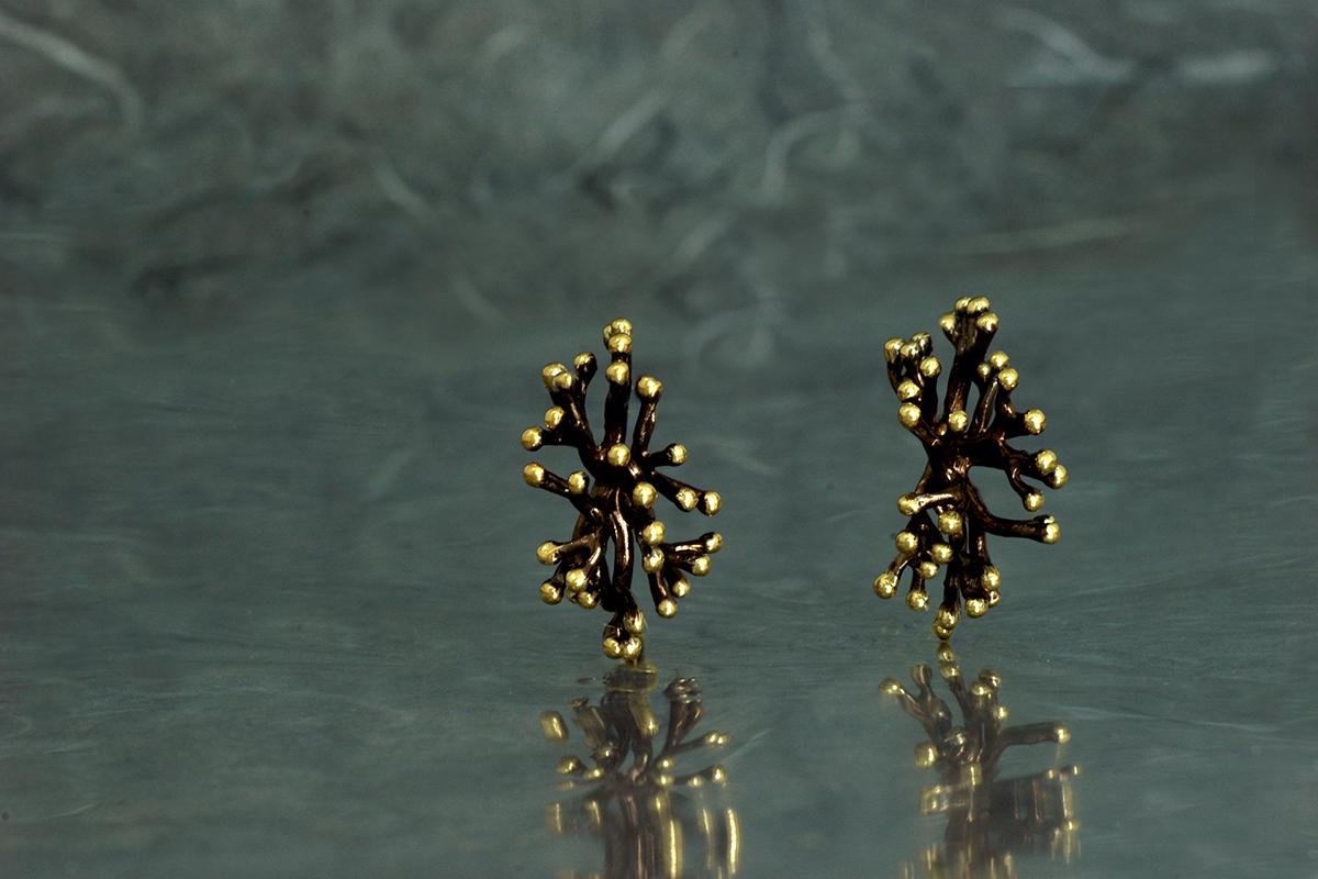 ANEMONA - Pendientes de presión, ref. M, con acabado galvanizado y chapado en oro