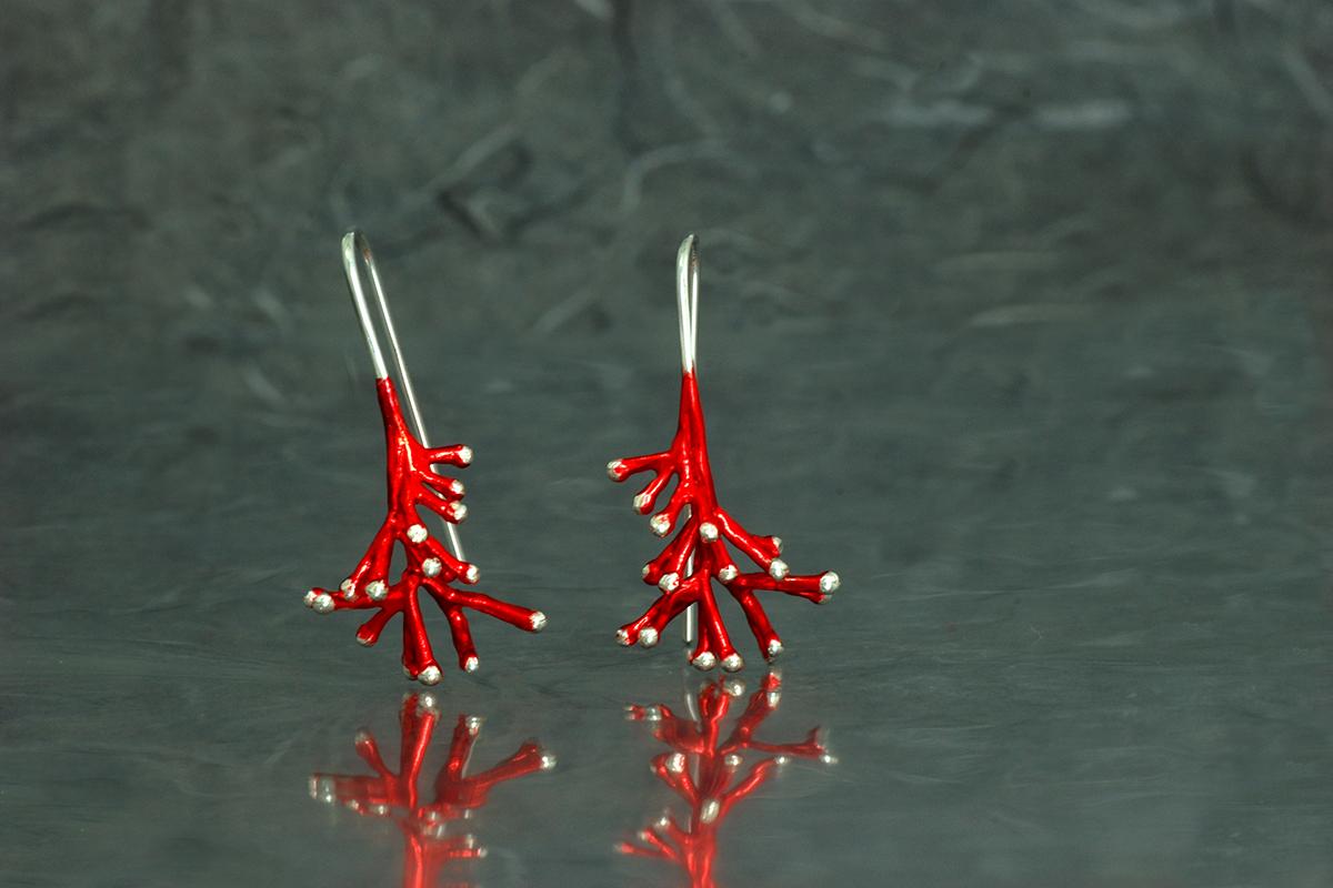 ANEMONA - Pendientes de gancho fijo, ref. SG, con acabado galvanizado