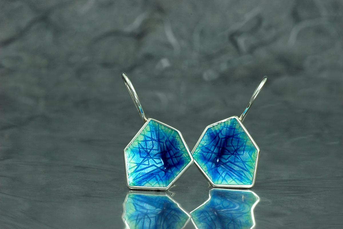 Fire enamel Hook Earrings M