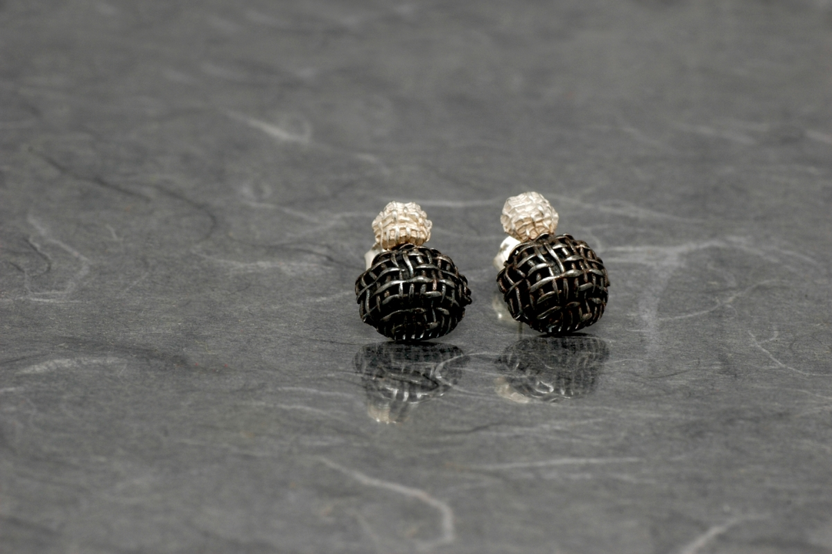 SFERA - Double Earrings P, with oxidized silver finish
