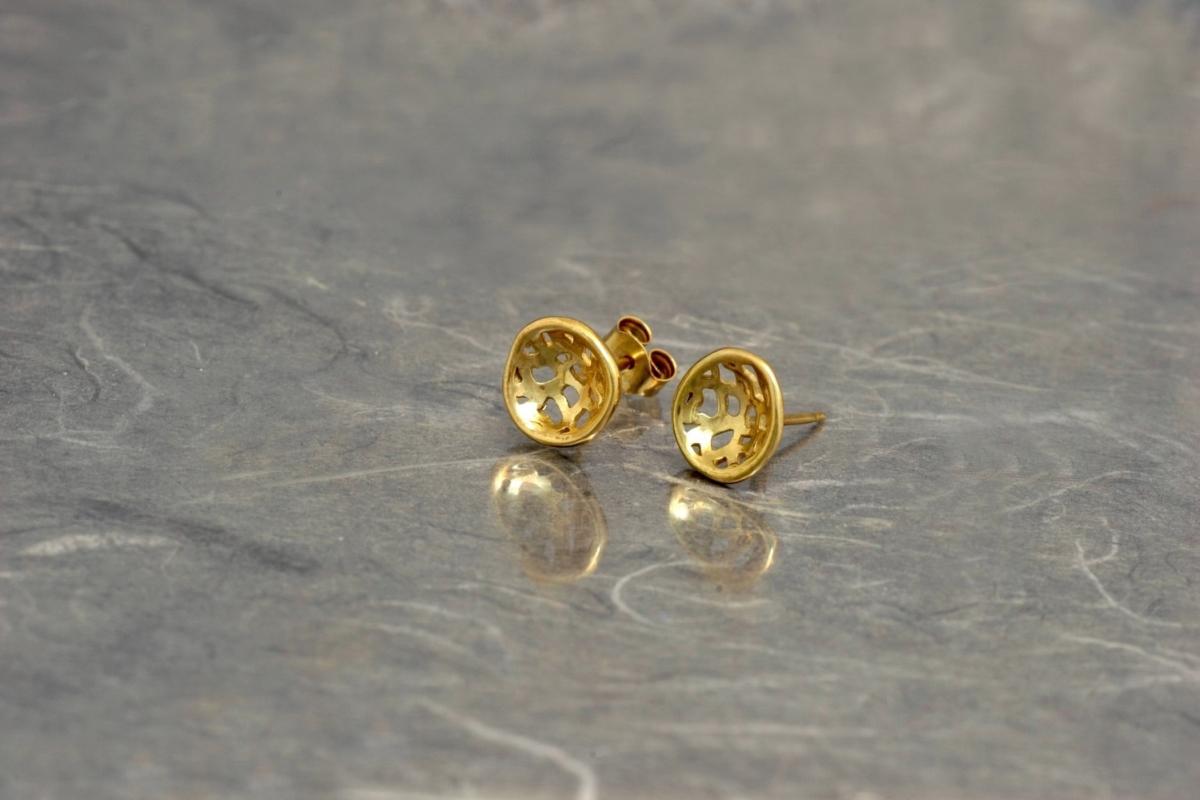 MADISON - Pendientes PP de presión, con acabado chapado en oro