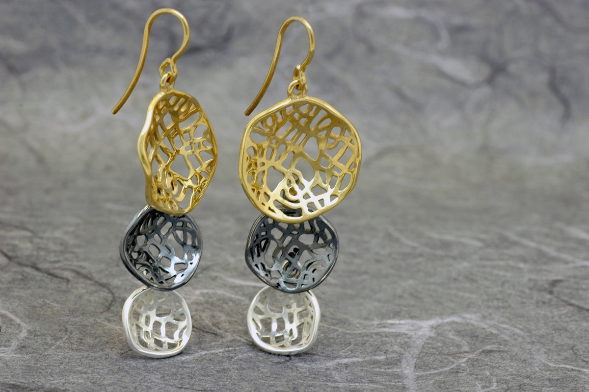 MADISON TRIPLE - Dangle earrings ref.G, with gold plated, oxidized silver and white finish