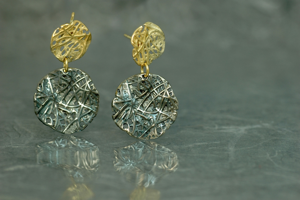 EVOQUE DOBLE Stud double Earrings P, gold plated and oxidized silver finish