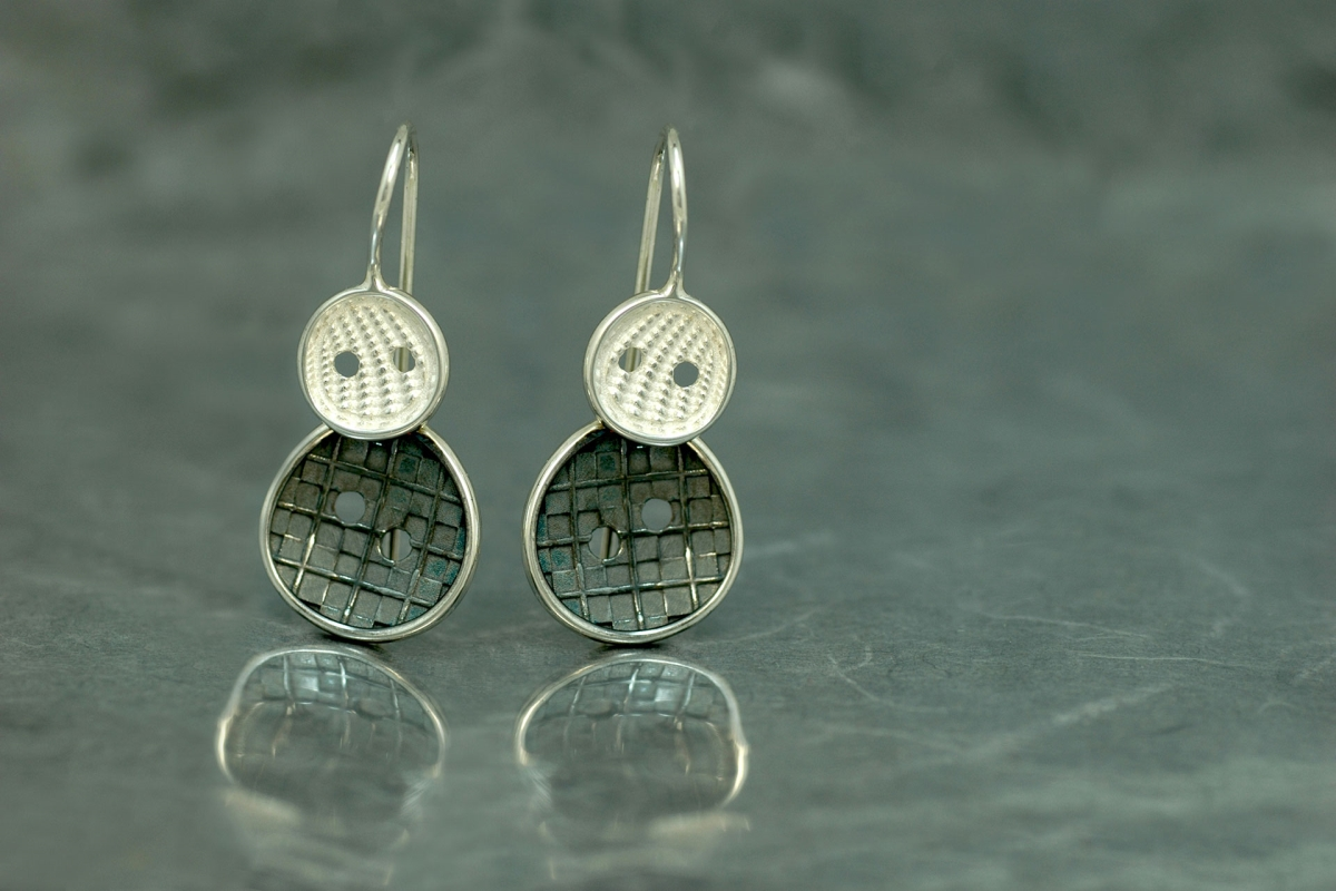 COUTURE - Fixed hook Earrings M, with oxidized silver finish