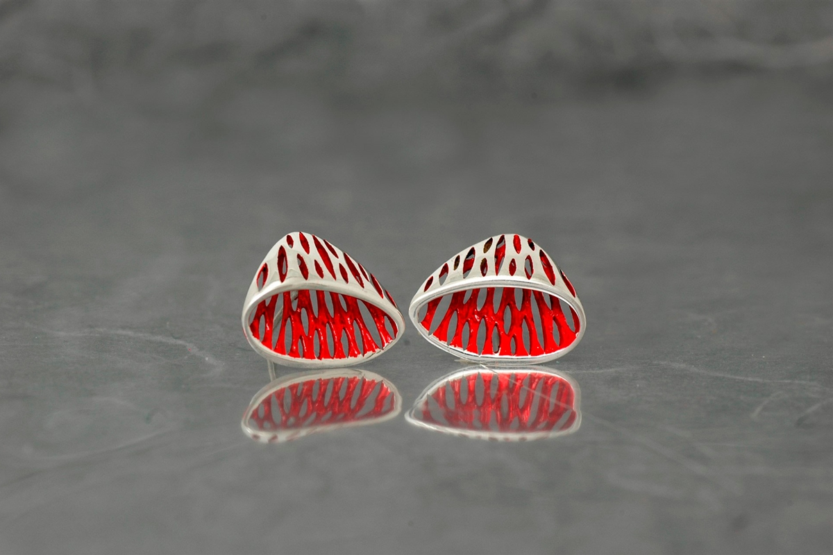 AVATAR - Stud Earrings ref.P, with galvanized and shiny finish