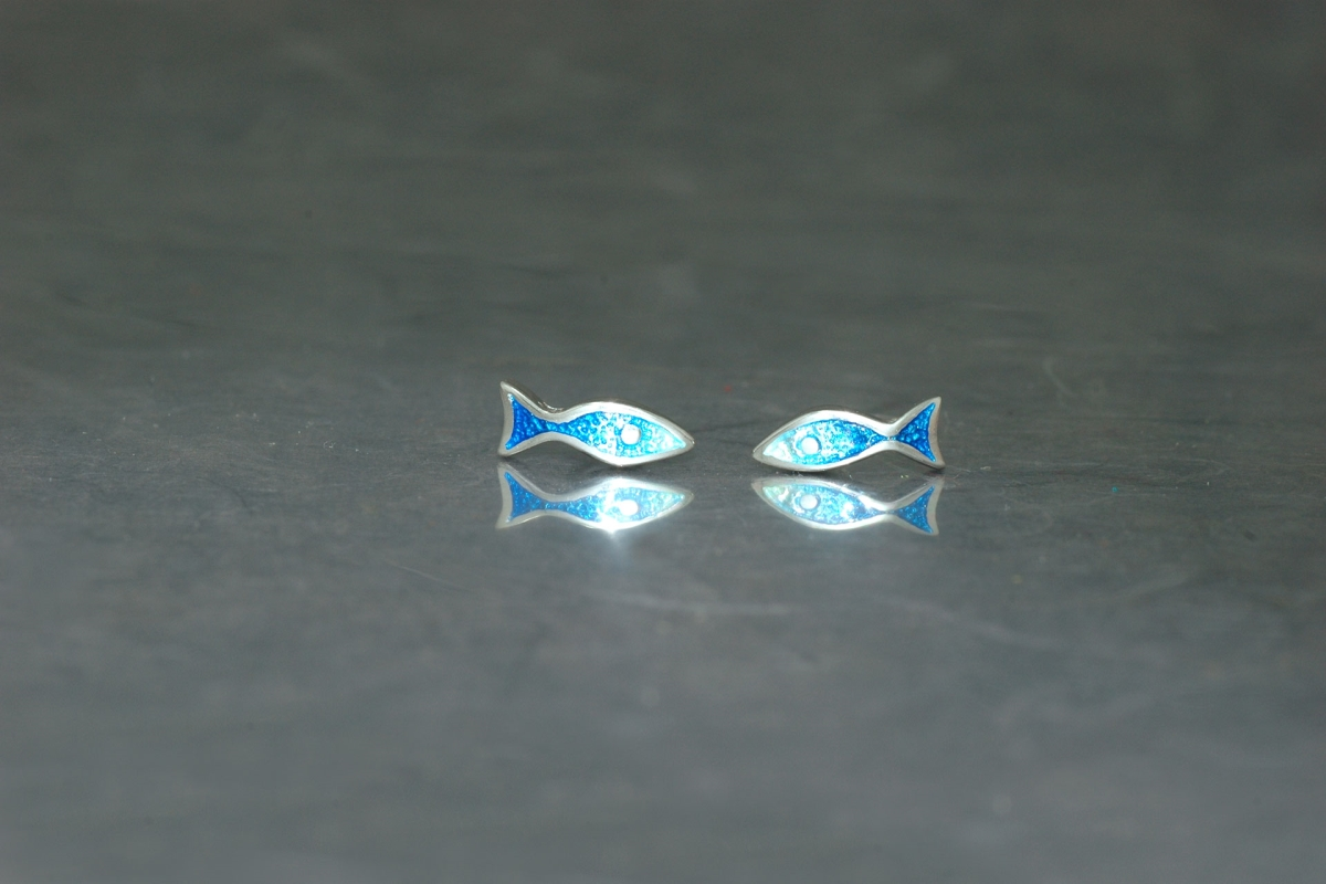 MARE - Stud Earrings ref.PP Fishes, with vitreous enamel