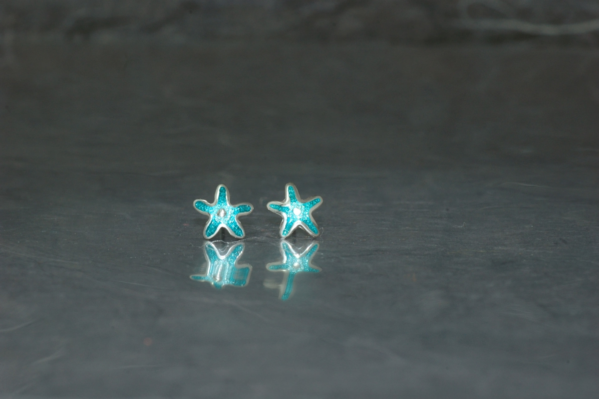 MARE - Stud Earrings ref. PP Star, with vitreous enamel