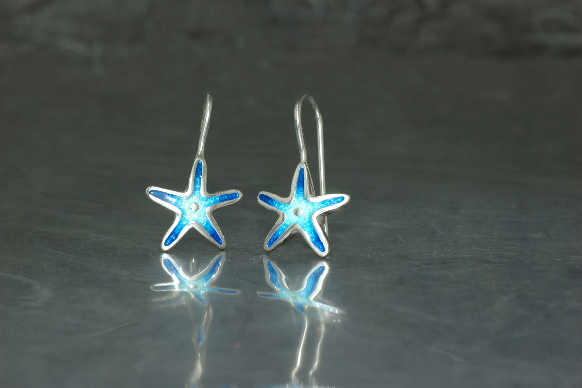 MARE - Threader style earrings ref.G Star with vitreous enamel