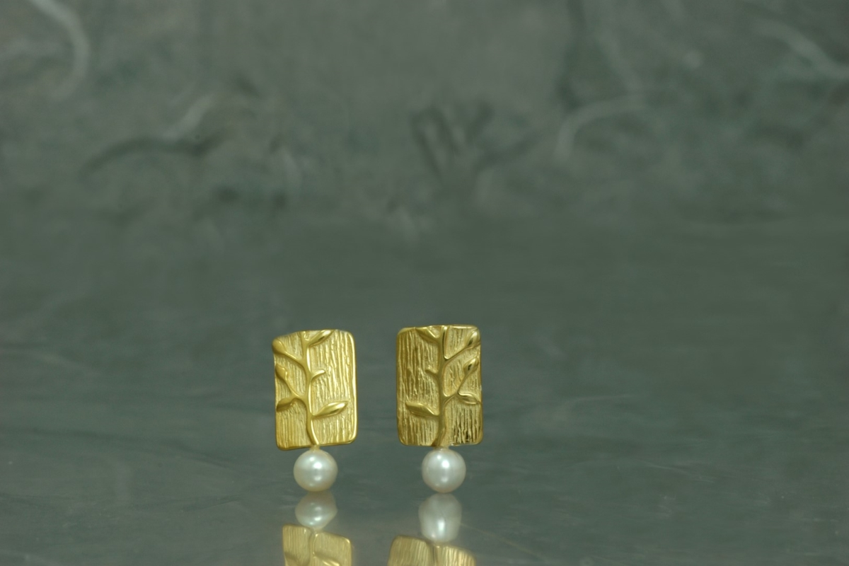 BAMBU - Stud Earrings ref.PP, with pearl and gold plated