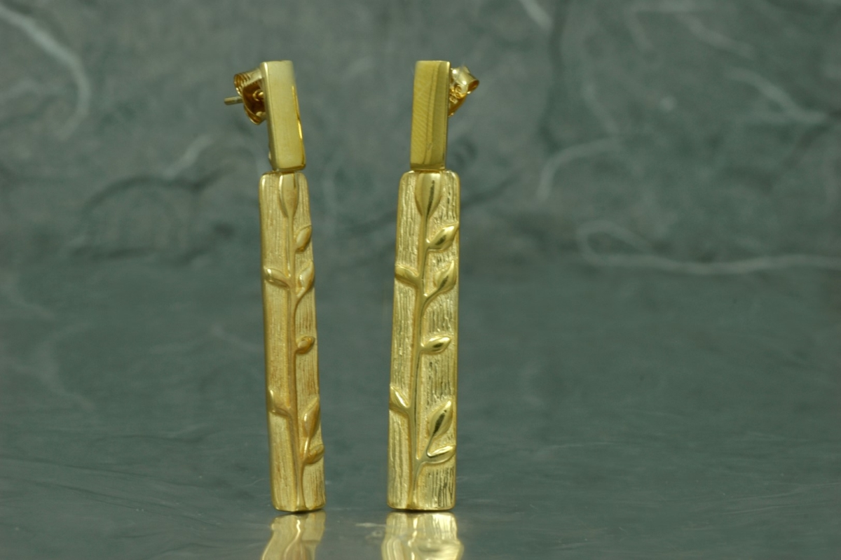 BAMBU - Double Stud Earrings G, gold plated