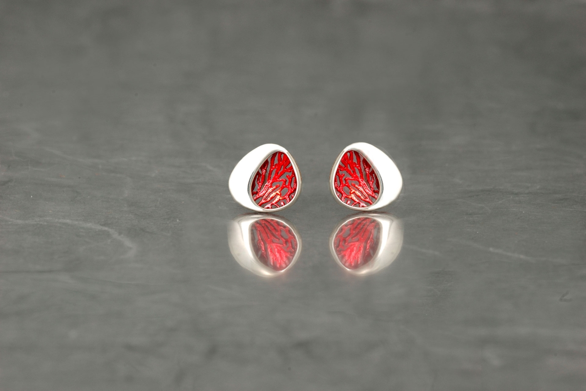 GORGONIA - Stud Earrings PP, with galvanized and shiny finish - Galicia Calidade