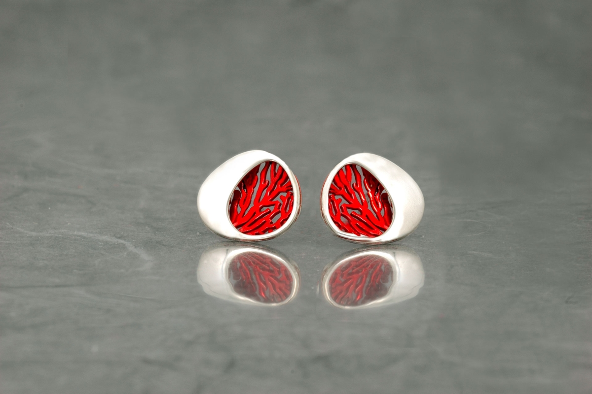 GORGONIA - Stud Earrings P, with galvanized and shiny finish - Galicia Calidade