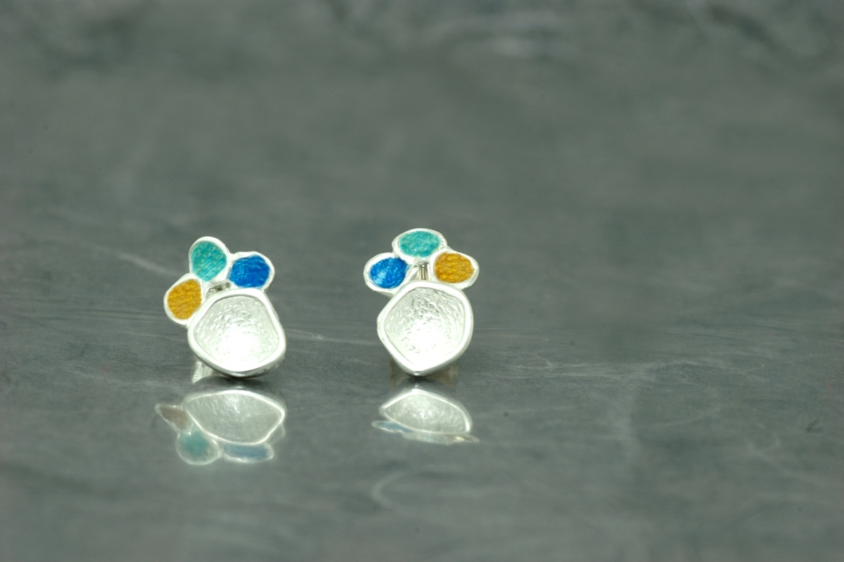 DREAM - Stud Earrings PP, with vitreous enamel