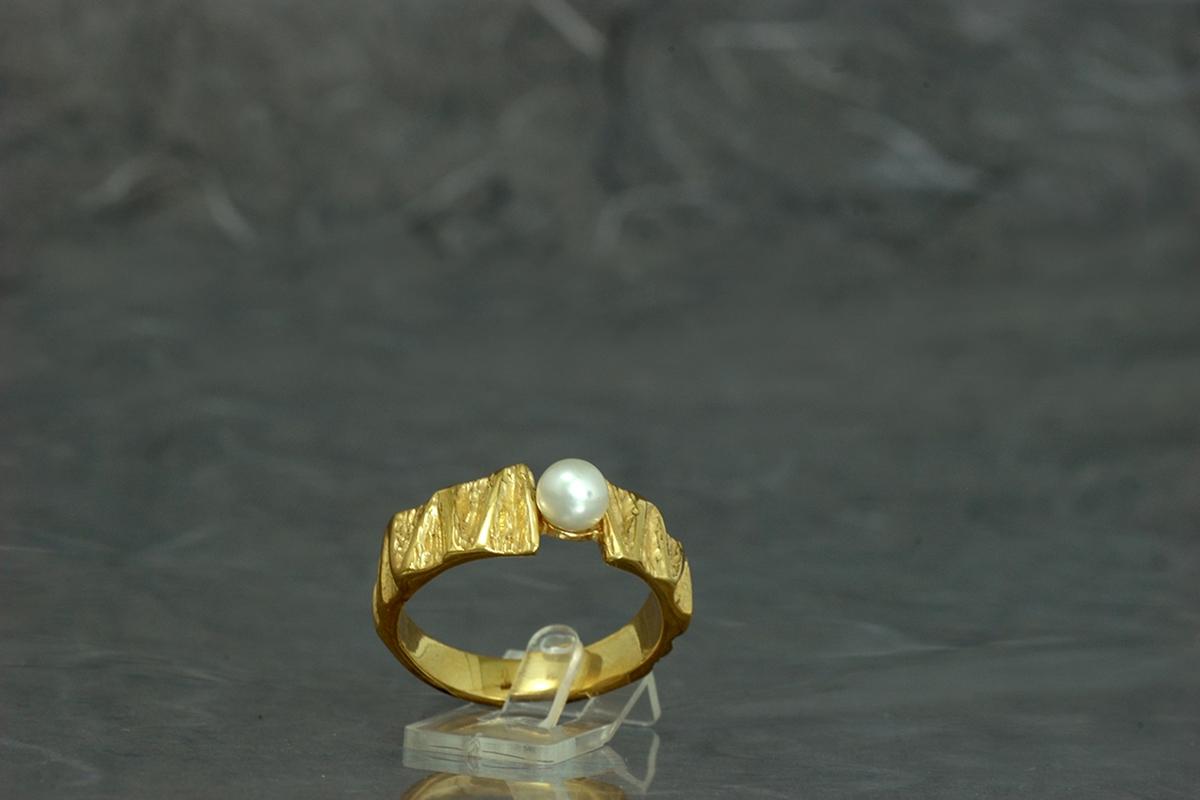 VIVALDI - Bague ref.SSG avec perle et finition plaqué or 18 carats