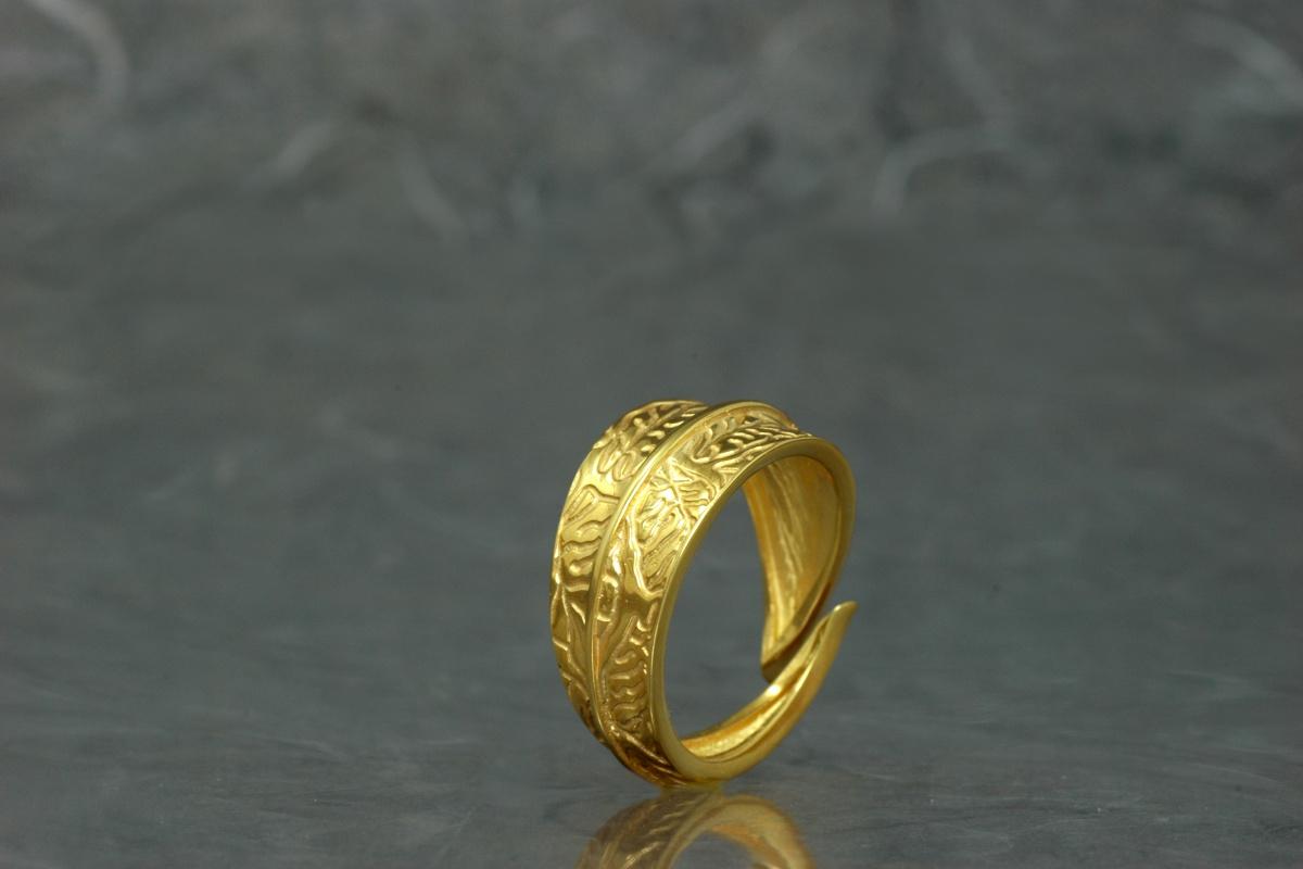 NATURA - Anillo SSSG, con acabado chapado en oro