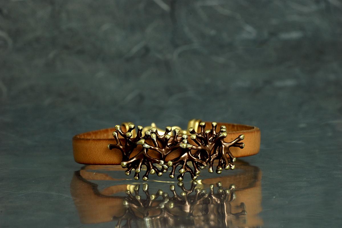 ANEMONA - Bracelet with leather, ref. SSG, with galvanized finish