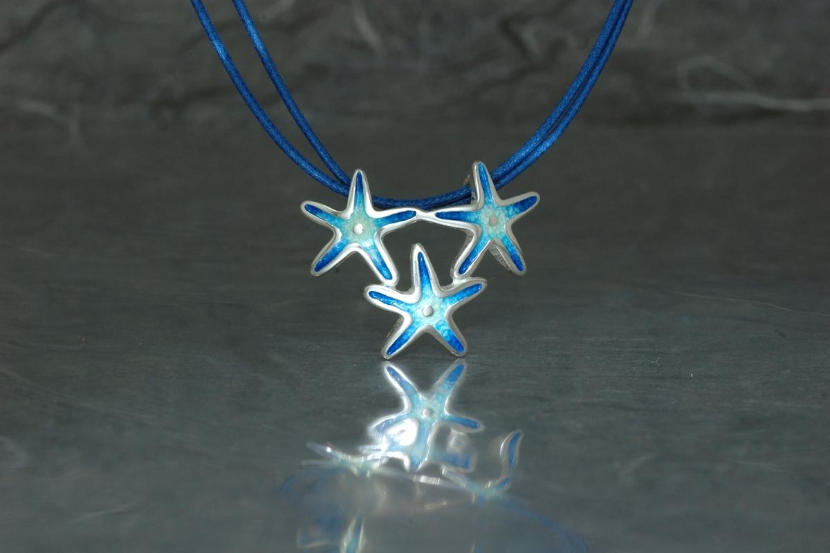 MARE - Colgante triple, Estrellas, con esmalte al fuego