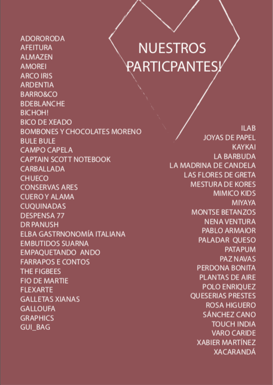 Listado participantes Made in Galicia Market
