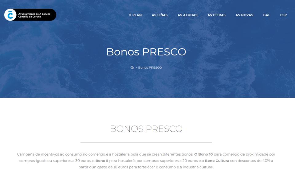 Ardentia Coruña acepta los Bonos Presco