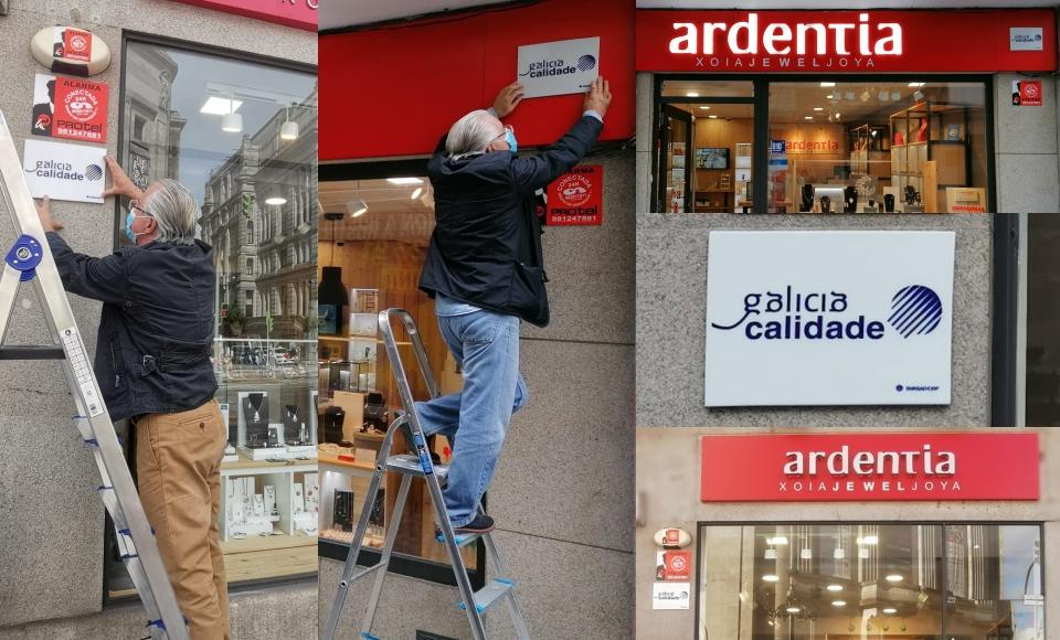 Nuestras dos tiendas de A Coruña y Vigo ya lucen su placa oficial Galicia Calidade